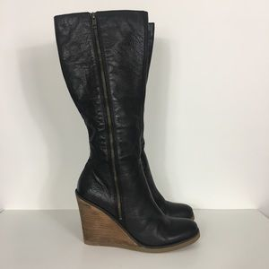 Lucky Brand Black Leather Wedge Riding Boots